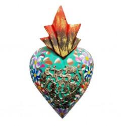 Coeur fleuri avec milagros