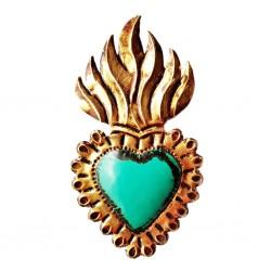 Coeur sacré enflammé Turquoise