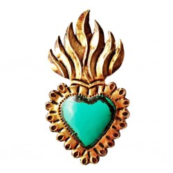 Turquoise Flaming sacred heart