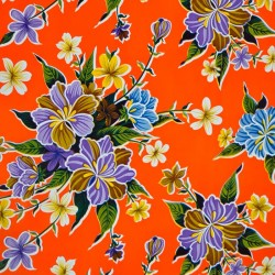 Orange Hibisco oilcloth offcut