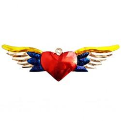 Sagrado corazón con alas grandes Azul