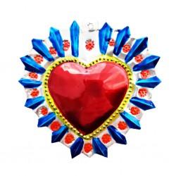 Sagrado corazón Halo florido Azul