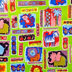 Green Animalitos oilcloth
