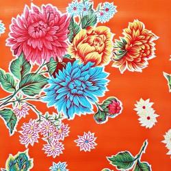 Orange Crisantemos oilcloth offcut