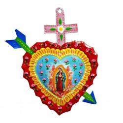Coeur peint Vierge de Guadalupe