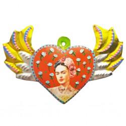 Corazón alado pintado Frida Kahlo Naranja