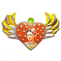 Orange Frida Kahlo painted winged heart