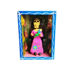 Blue Frida and parrot diorama box