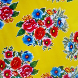 Yellow Ramilletes oilcloth offcut