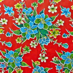Red Hibisco oilcloth offcut