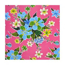 Pink Hibisco oilcloth offcut