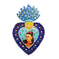 Coeur peint Frida Kahlo Bleu