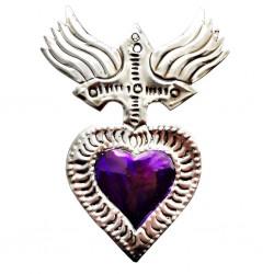 Coeur sacré Croix Violet