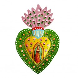 Green Guadalupe painted heart
