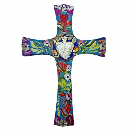 Blue Sacred heart cross