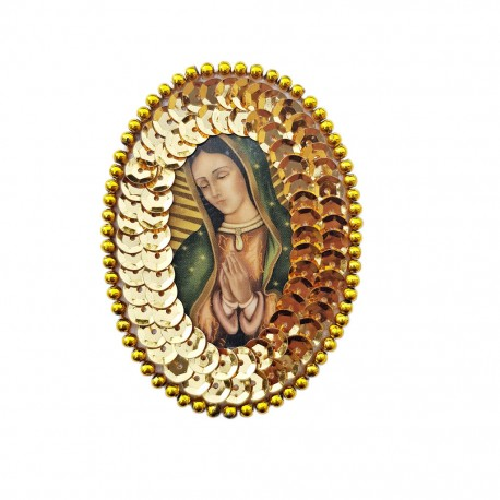 Gold Guadalupe Oval sequin patch