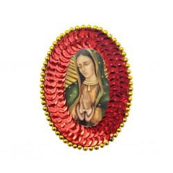 Parche de lentejuelas ovalado Guadalupe Rojo