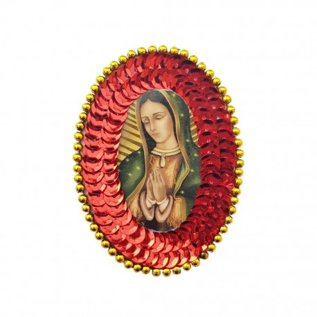 Red Guadalupe Oval sequin patch