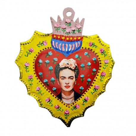 Corazón pintado Frida Rojo y amarillo