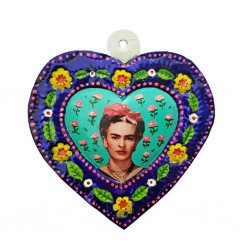 Corazón pintado Frida Kahlo Turquesa