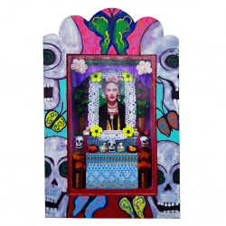 Nicho pintado Frida Ofrenda Azul