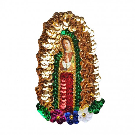 10cm Virgin of Guadalupe sequin patch