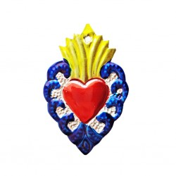 Blue Sacred heart with border