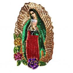 Parche lentejuelas Virgen de Guadalupe 37 cm