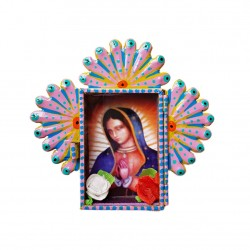 Mini niche métal Vierge de Guadalupe Jaune