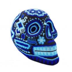 Grand crâne mexicain Huichol Bleu