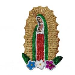 Parche lentejuelas Virgen de Guadalupe 30cm