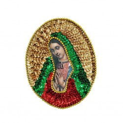 Guadalupe Oval sequin patch