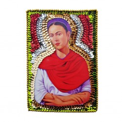 Frida with red shawl sequin patch