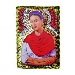 Parche lentejuelas Frida con rebozo rojo