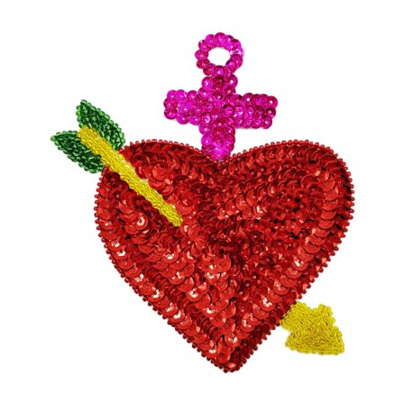 Pierced heart Sequin patch