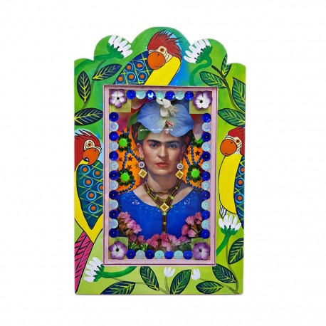 Frida Parrots Painted shrine