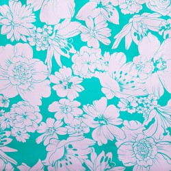 Turquoise Flores oilcloth