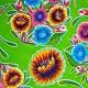 Green Dulce flor oilcloth