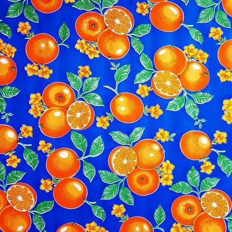 Blue Naranjas Oilcloth