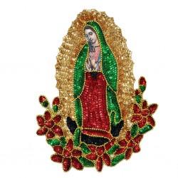 Parche lentejuelas Virgen de Guadalupe 28 cm