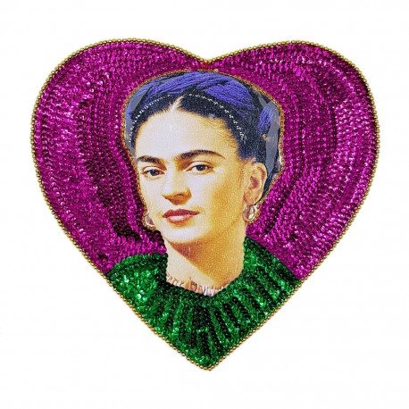 Pink Frida heart sequin patch