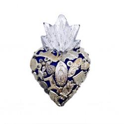 Navy Small Milagros heart