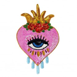 Pink Sacred heart with eye Sequin patch
