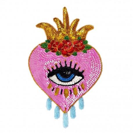 Patch sequins Coeur avec oeil Rose