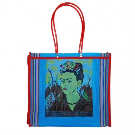 Blue Frida Kahlo market bag