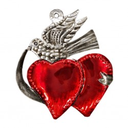 Hearts and bird ornament