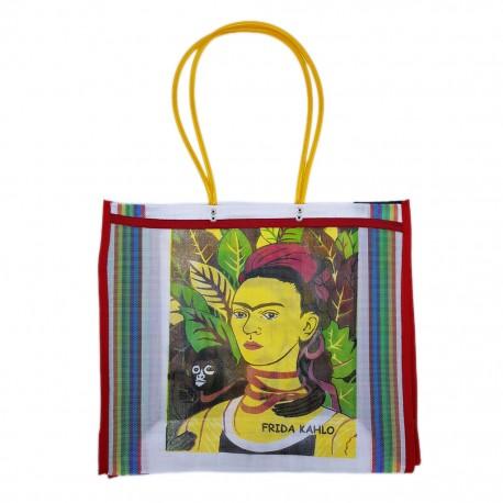 White Frida Kahlo market bag