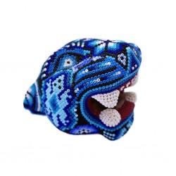 Tête de jaguar Huichol Bleu