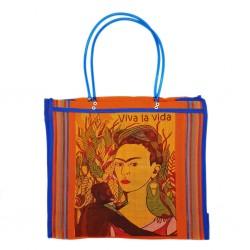 Orange Frida Kahlo market bag