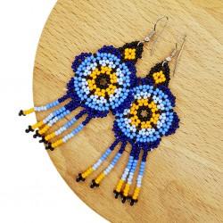 Navy Flower Earrings